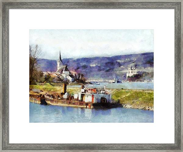 Ybbs An Der Donau Harbour Framed Print