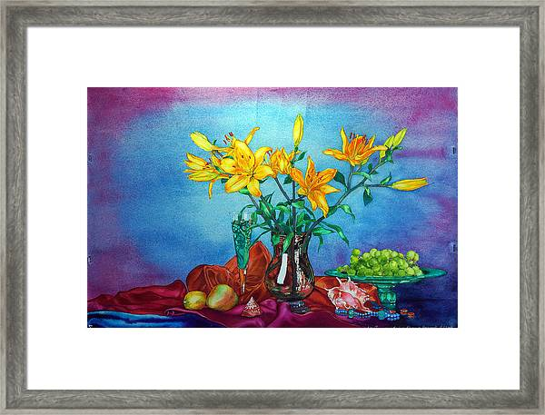 Yellow Lily In A Vase Framed Print