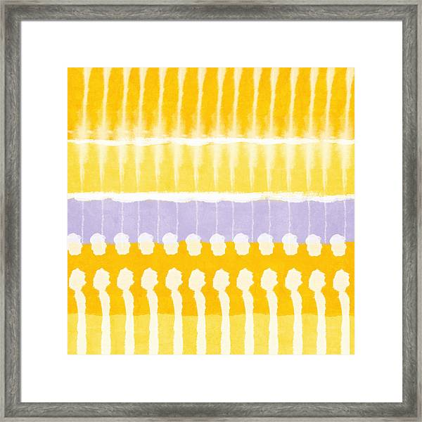 Yellow And Grey Tie Dye Framed Print