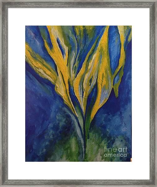 Yellow Crystal Star Framed Print by Bebe Brookman