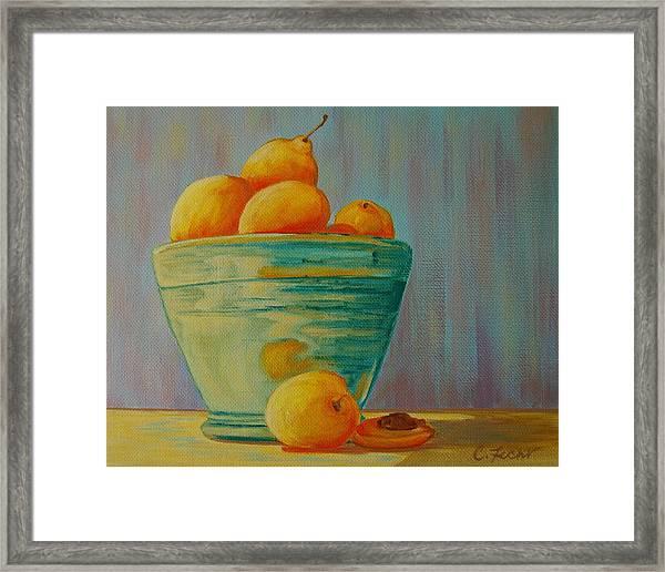 Yellow Fruit Blue Bowl Framed Print