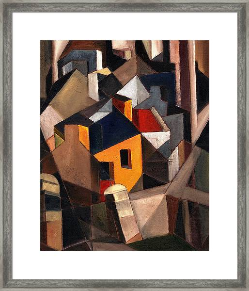 Yellow House Framed Print by Val Byrne