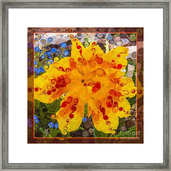 Yellow Lily With Streaks Of Red Abstract Painting Flower Art Framed Print