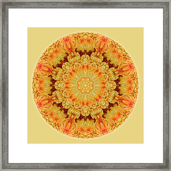 Framed Print featuring the photograph Yellow Orange Mum Mandala by Beth Sawickie