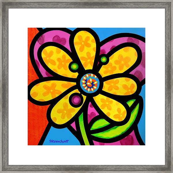 Yellow Pinwheel Daisy Framed Print