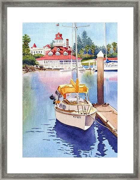 Yellow Sailboat And Coronado Boathouse Framed Print