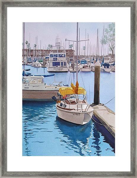 Yellow Sailboat Oceanside Framed Print