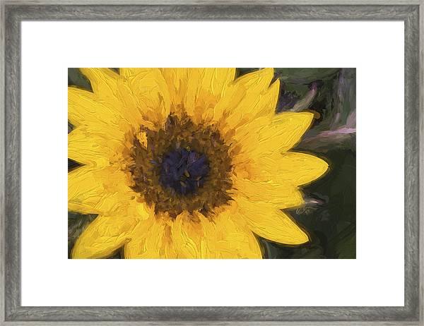 Yellow Sunflower Painterly Framed Print