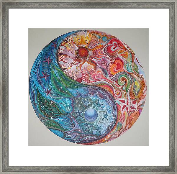 Yin Yang Mandala Framed Print by Moira Gil
