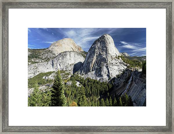 Yosemite Mountains And Waterfall Framed Print