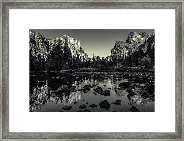 Yosemite National Park Valley View Reflection Framed Print