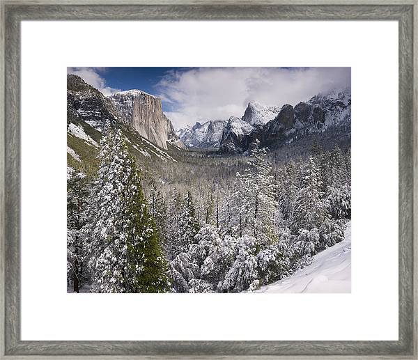 Yosemite Valley In Winter Framed Print by Richard Berry