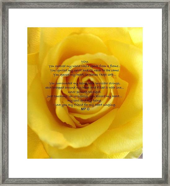 You Poem On Yellow Rose Framed Print