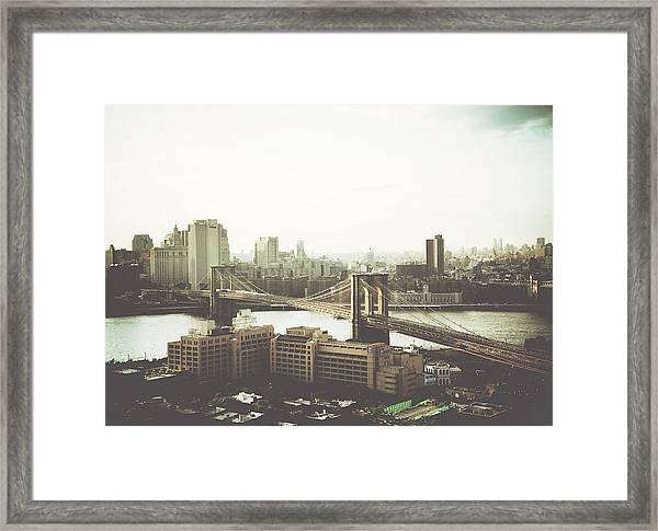 You'll Miss Her Most When You Roam ... Cause You'll Think Of Her And Think Of Home ... The Good Old Brooklyn Bridge Framed Print