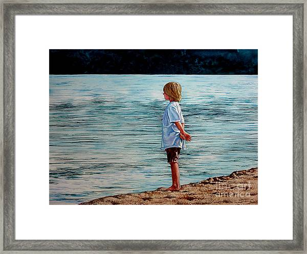 Young Lad By The Shore Framed Print