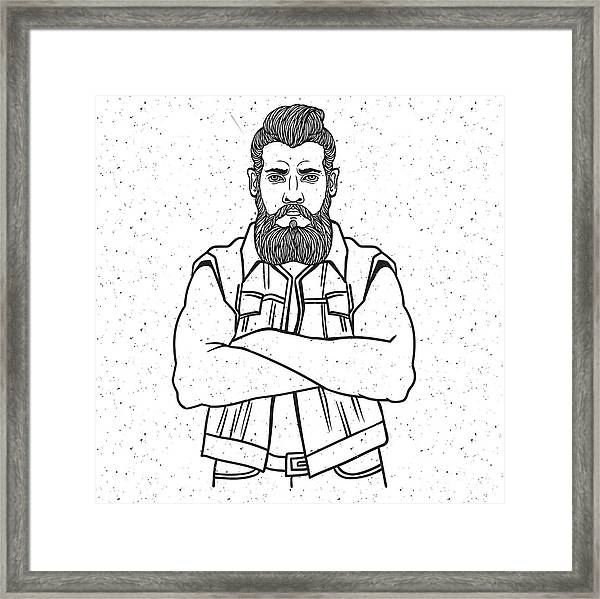 Young Man Bearded Biker. Hand Drawing Framed Print