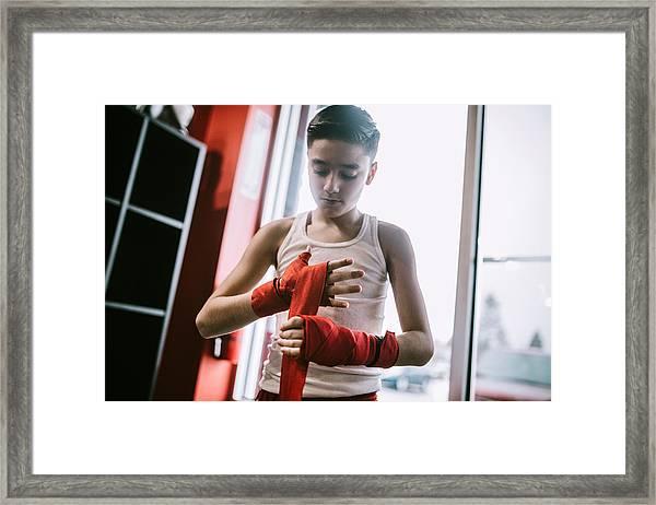 Young Man In Kickboxing Training Center Framed Print by RyanJLane