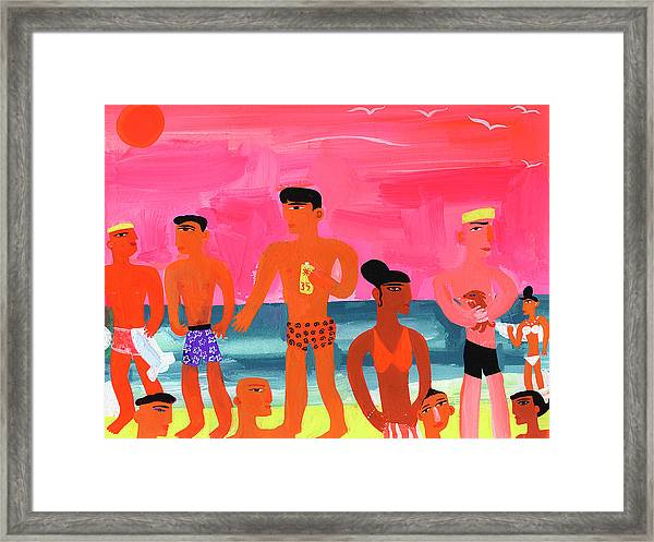 Young People At Bright Color Beach Framed Print