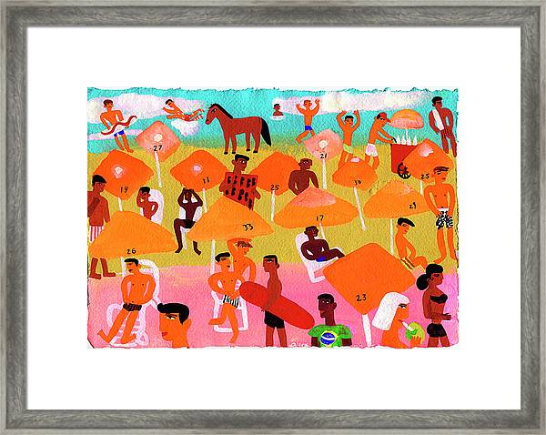 Young People On Busy Beach In Rio De Framed Print