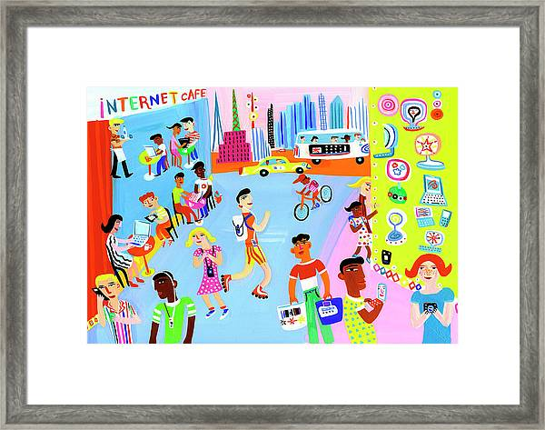 Young People Using Mobile Technology In Framed Print