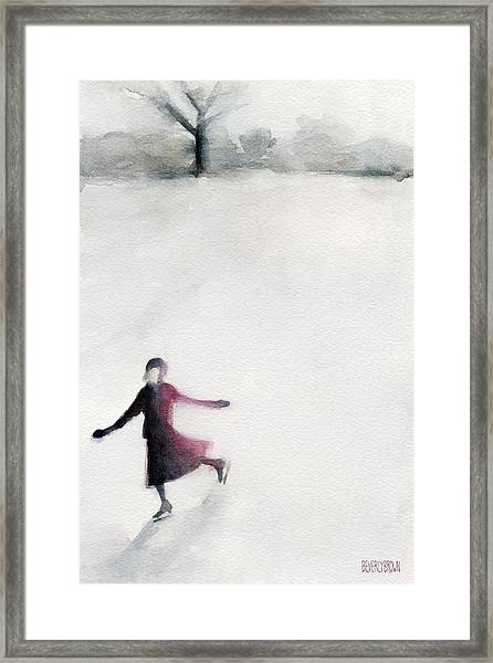 Young Woman Ice Skating Watercolor Painting Framed Print