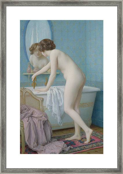 Young Woman Preparing Her Bath  Framed Print