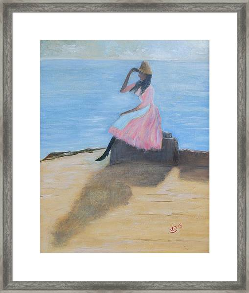 Young Women On The Beach Framed Print