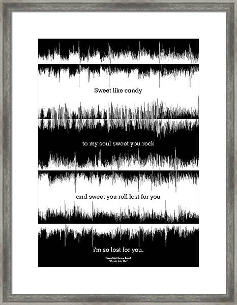 Lyrics Music Waveform Poster Framed Print