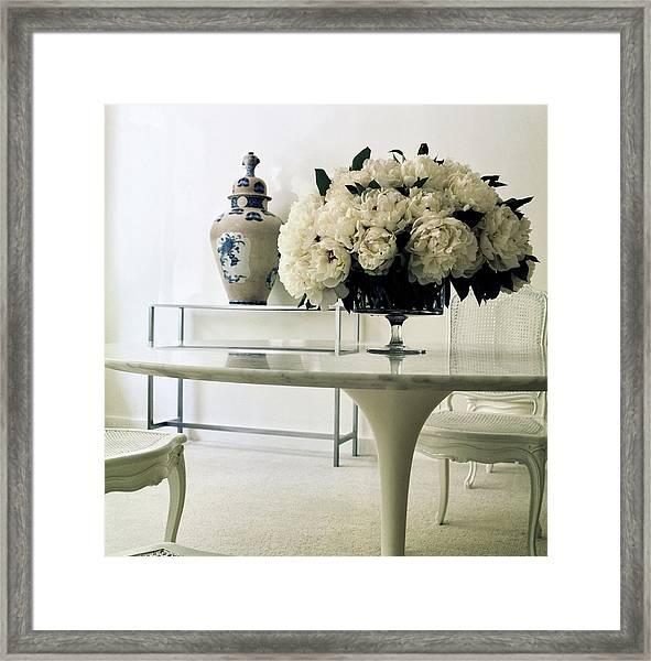 Yves Saint Laurent's Dining Room Framed Print by Horst P. Horst