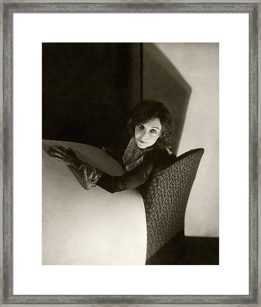 Zasu Pitts Sitting On An Armchair Framed Print