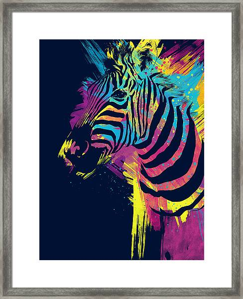 Zebra Splatters Framed Print