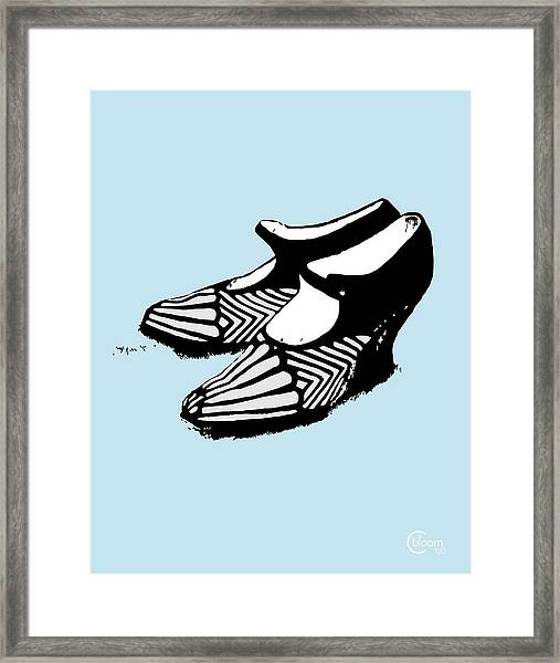 Zeldas Party 1920 Flapper Shoes...robins Egg Blue Framed Print