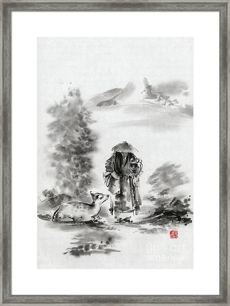 Zen Art  Buddhist Monk Mountains Landscape Framed Print