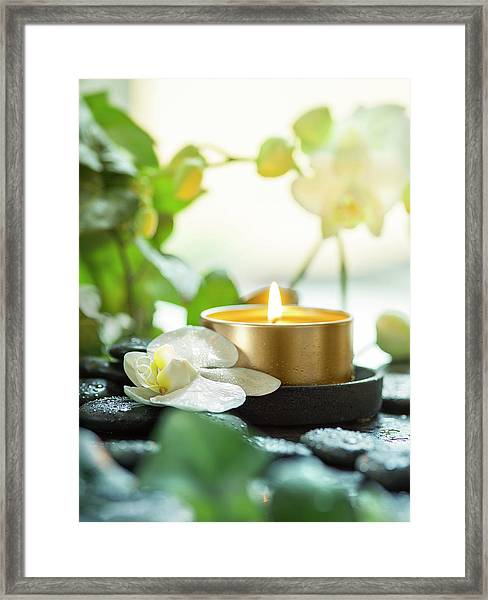 Zen Orchid And Candle Framed Print by #name?