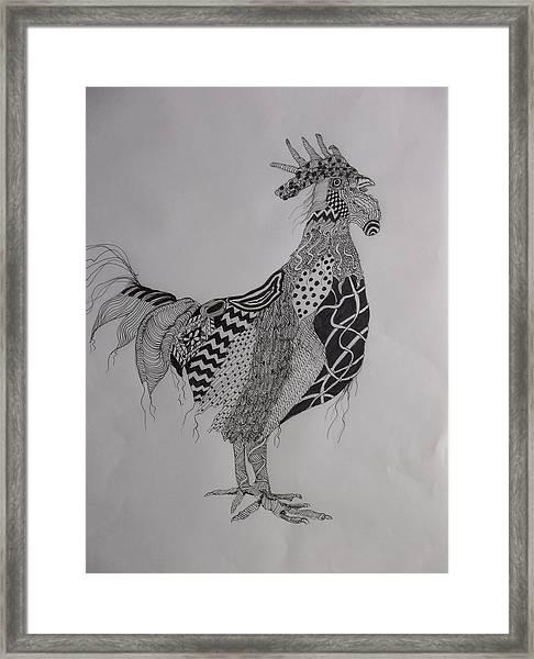Zen Rooster Left Framed Print