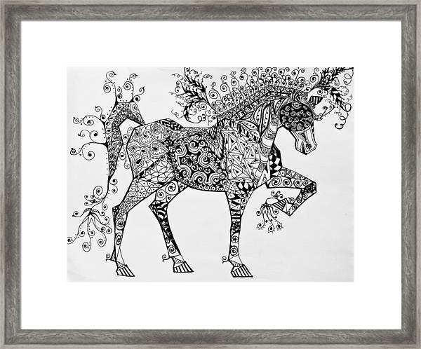 Zentangle Circus Horse Framed Print