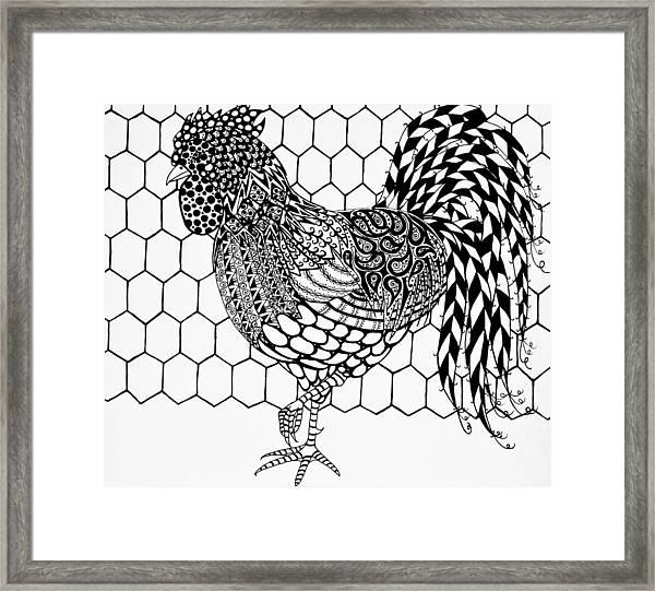 Zentangle Rooster Framed Print