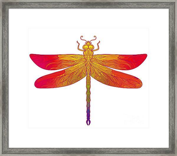 Zentangle Stylized Dragonfly. Ethnic Framed Print