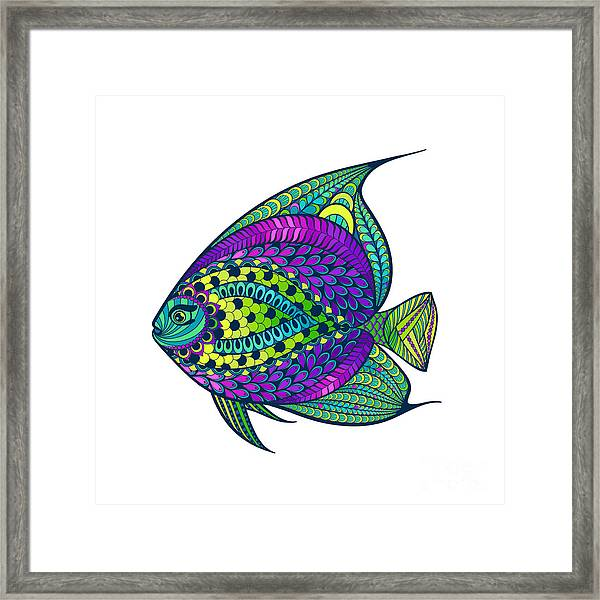 Zentangle Stylized Fish With Abstract Framed Print