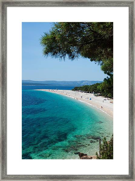 Zlatni Rat Beach With Hvar Island Framed Print