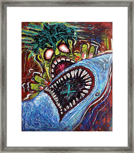 Zombie Shark Fight Framed Print by Laura Barbosa