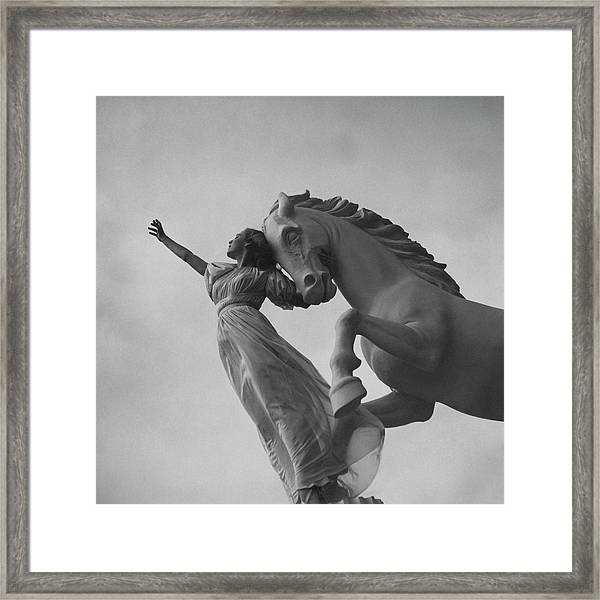 Zorina With A Horse Statue Framed Print