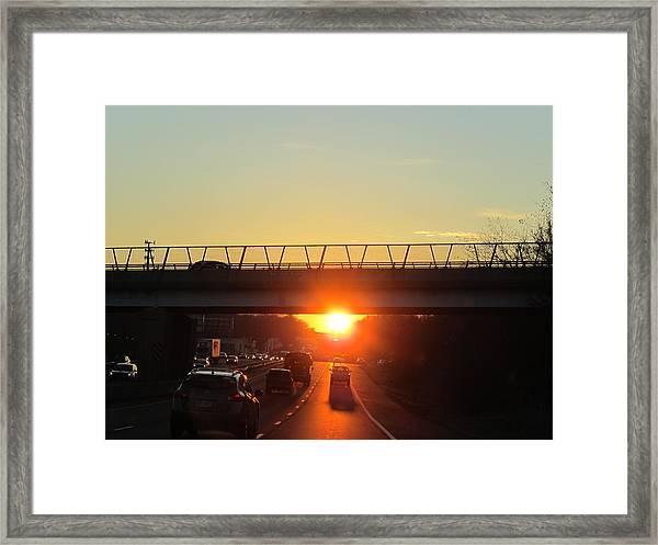 Highway Sunset Framed Print by Valia Bradshaw