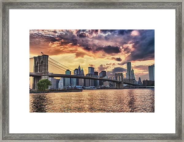 Sunset Over The Brooklyn Bridge Framed Print