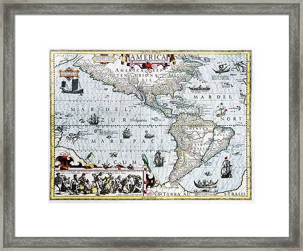 17th Century Map Of The New World Framed Print