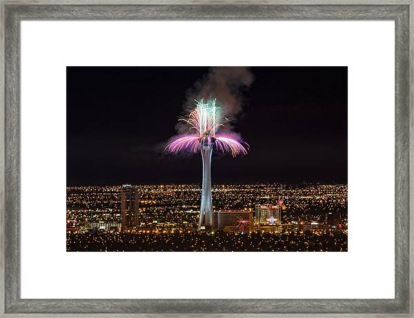 2011 New Year's Fireworks - The Stratosphere Framed Print