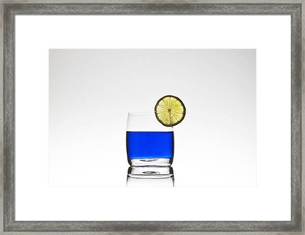 Blue Cocktail With Lemon Framed Print