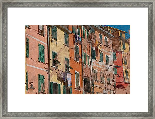 Cinque Terre Colorful Homes Framed Print