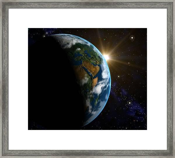 Computer Artwork Of Sunrise Over The Earth Framed Print by Roger Harris