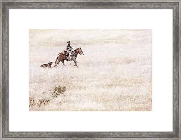 Cowboy And Dog Framed Print